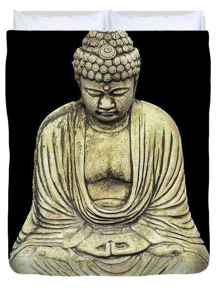 Buddha On Black Duvet Cover