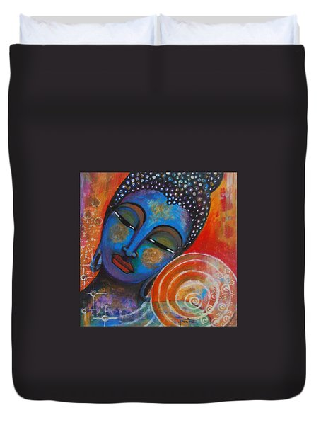 Duvet Cover featuring the painting Buddha by Prerna Poojara