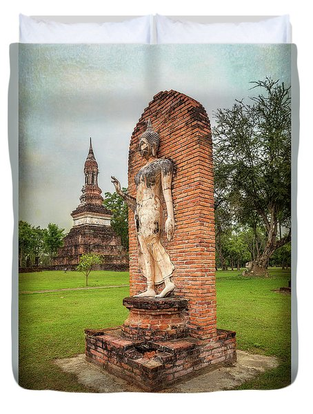 Duvet Cover featuring the photograph Buddha Statue Sukhothai by Adrian Evans