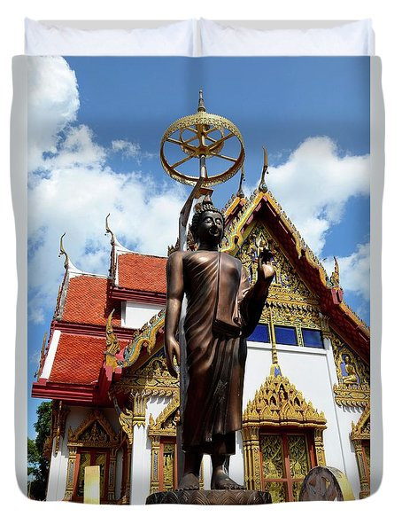 Buddha Statue With Sunshade Outside Temple Hat Yai Thailand Duvet Cover