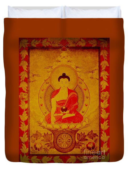 Buddha Tapestry Gold Duvet Cover