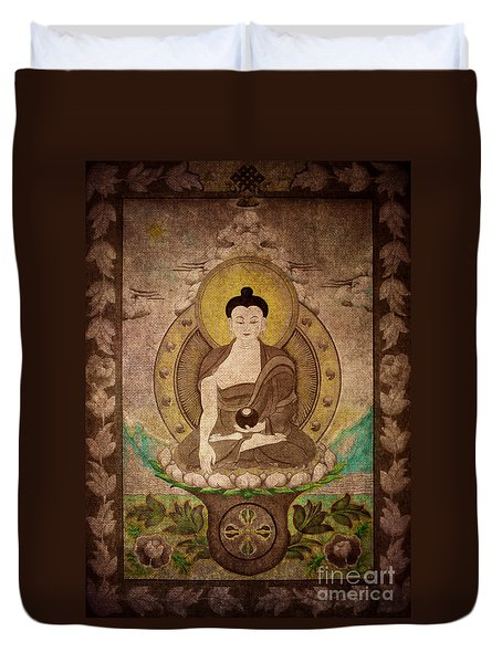 Buddha Thangka Silver Duvet Cover