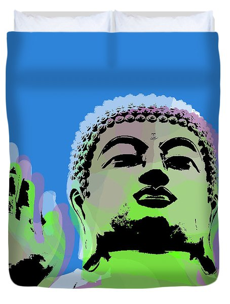 Duvet Cover featuring the digital art Buddha Warhol Style by Jean luc Comperat