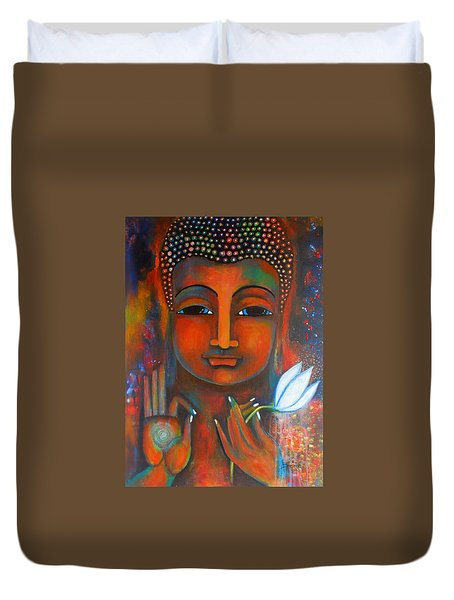 Duvet Cover featuring the painting Buddha With A White Lotus In Earthy Tones by Prerna Poojara