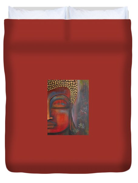 Duvet Cover featuring the painting Buddha With Floating Lotuses by Prerna Poojara