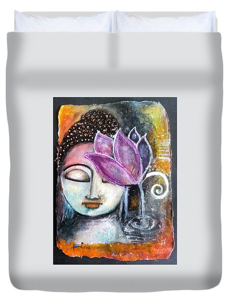 Duvet Cover featuring the mixed media Buddha With Torn Edge Paper Look by Prerna Poojara