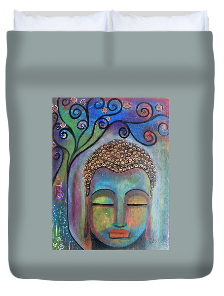 Duvet Cover featuring the painting Buddha With Tree Of Life by Prerna Poojara