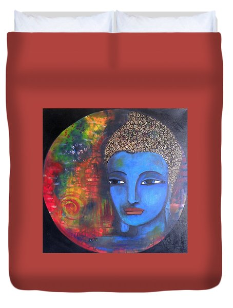 Duvet Cover featuring the painting Buddha Within A Circular Background by Prerna Poojara