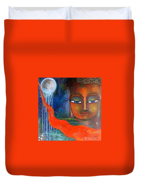 Duvet Cover featuring the painting Buddhas Robe Reaching For The Moon by Prerna Poojara