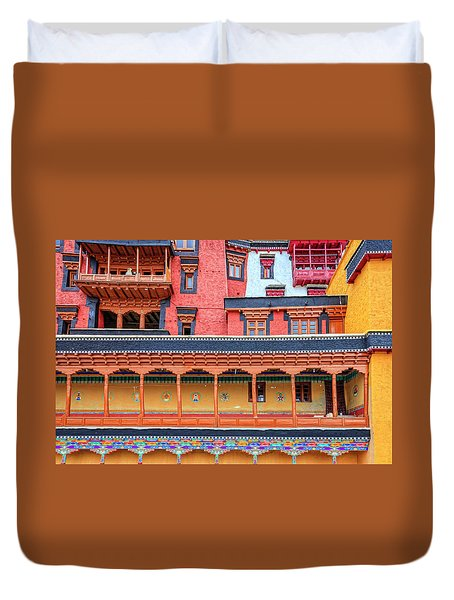 Duvet Cover featuring the photograph Buddhist Monastery Building by Alexey Stiop