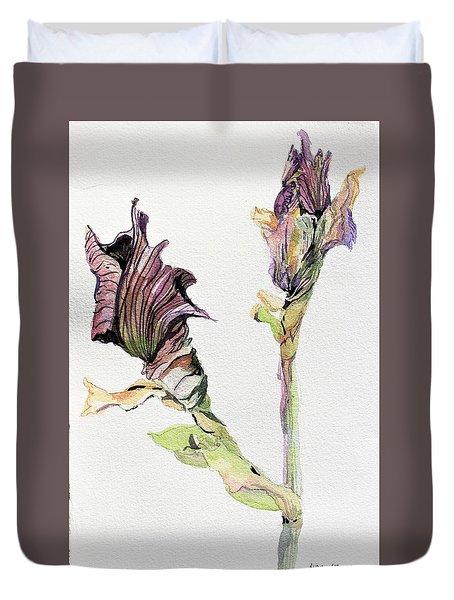 Budding Irises Duvet Cover by Mindy Newman