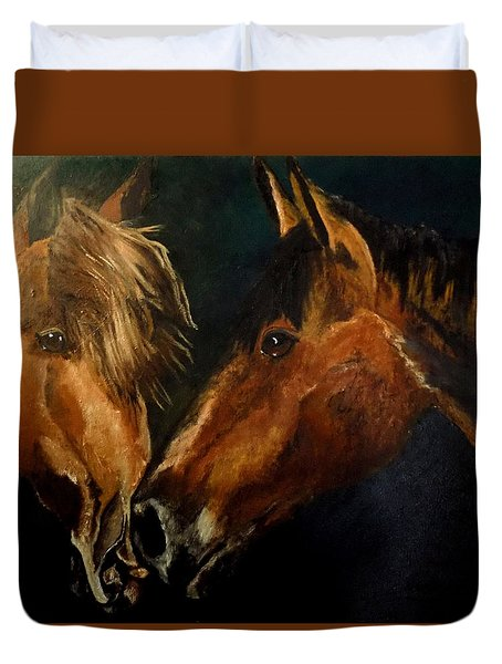 Buddy And Comet Duvet Cover by Maris Sherwood