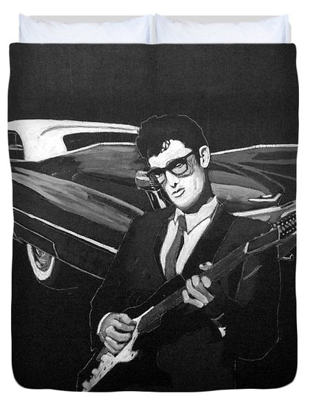 Buddy Holly And 1959 Cadillac Duvet Cover