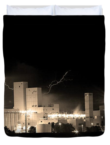 Budwesier Brewery Lightning Thunderstorm Image 3918  Bw Sepia Im Duvet Cover by James BO  Insogna