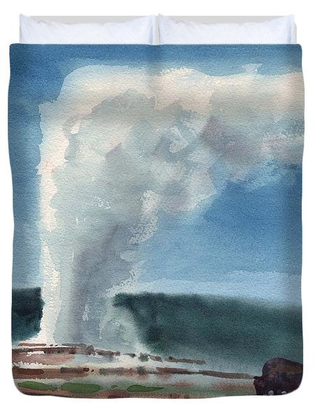 Duvet Cover featuring the painting Buffalo And Geyser by Donald Maier