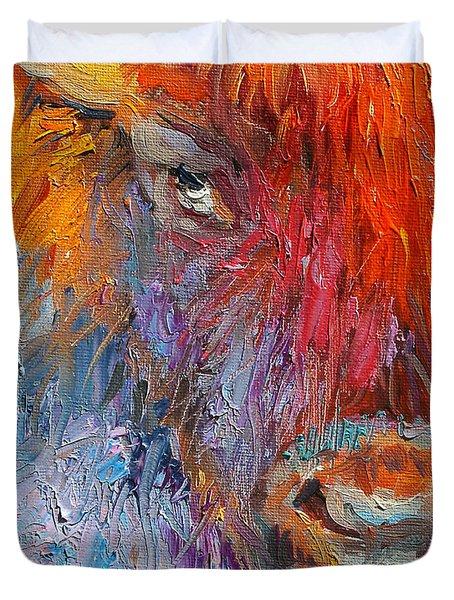 Buffalo Bison Wild Life Oil Painting Print Duvet Cover by Svetlana Novikova