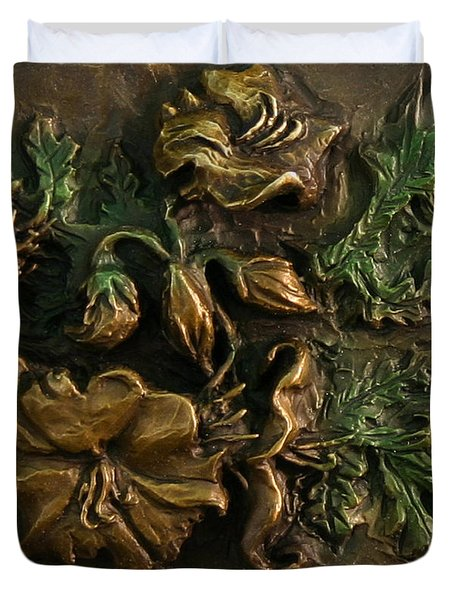 Duvet Cover featuring the relief Buffalo Bur Flower From Snowy Range Life by Dawn Senior-Trask