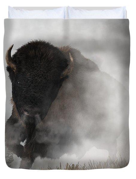 Buffalo Emerging From The Fog Duvet Cover