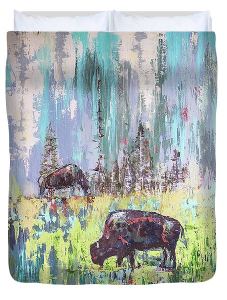 Buffalo Grazing Duvet Cover by Cheryl McClure