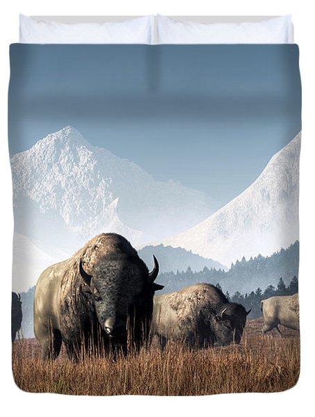 Buffalo Grazing Duvet Cover by Daniel Eskridge
