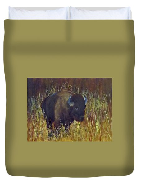 Duvet Cover featuring the painting Buffalo Grazing by Roseann Gilmore