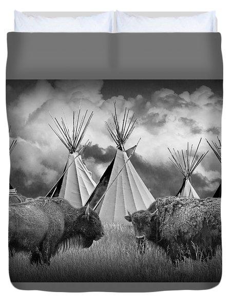 Buffalo Herd Among Teepees Of The Blackfoot Tribe Duvet Cover