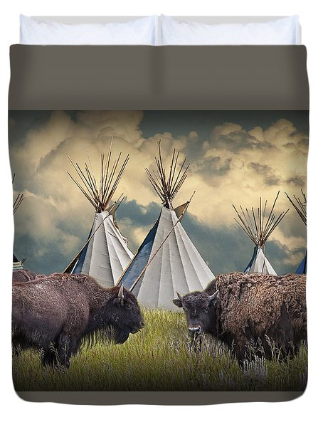 Buffalo Herd On The Reservation Duvet Cover