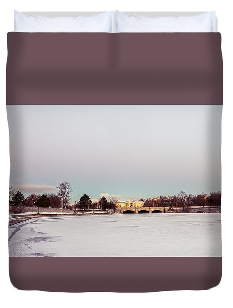 Duvet Cover featuring the photograph Buffalo History Museum Across Hoyt Lake by Chris Bordeleau