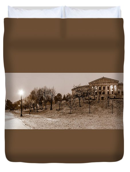 Duvet Cover featuring the photograph Buffalo History Museum Winter Twilight  by Chris Bordeleau