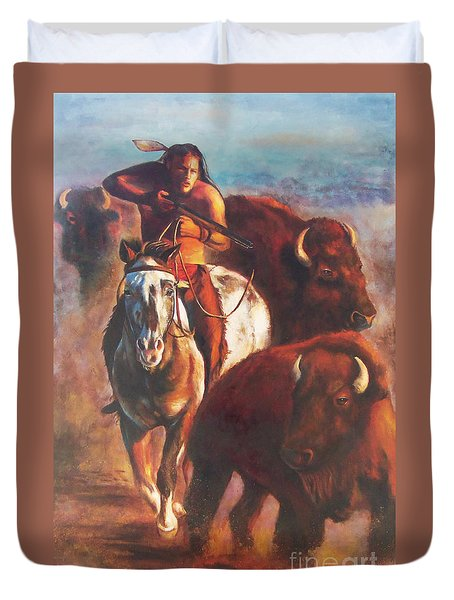 Duvet Cover featuring the painting Buffalo Hunt by Karen Kennedy Chatham