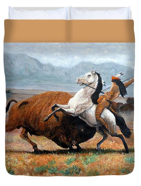 Duvet Cover featuring the painting Buffalo Hunt by Tom Roderick