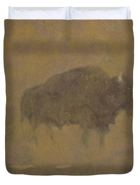 Buffalo In A Sandstorm Duvet Cover by Albert Bierstadt