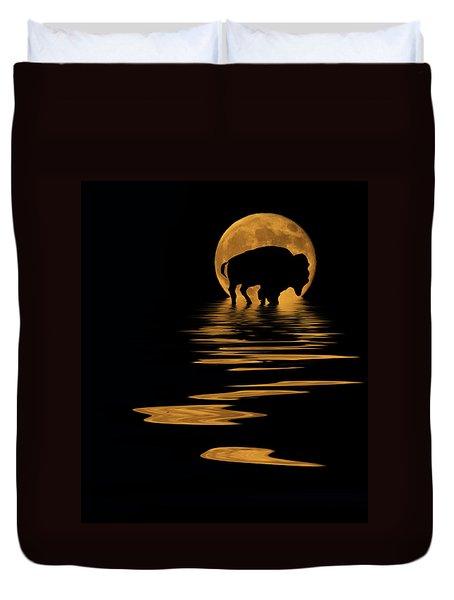 Buffalo In The Moonlight Duvet Cover