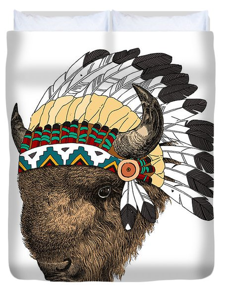 Buffalo With Indian Headdress In Color Duvet Cover