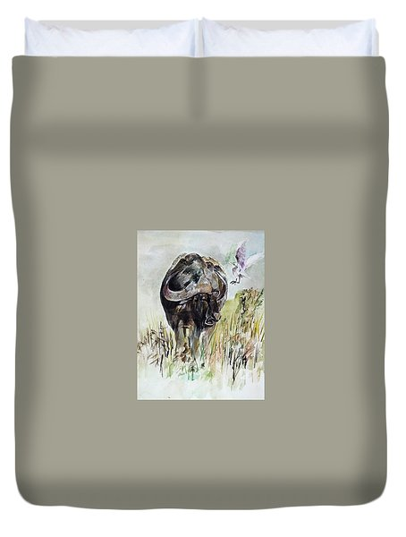 Buffalo Duvet Cover by Khalid Saeed