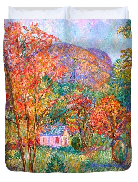 Duvet Cover featuring the painting Buffalo Mountain In Fall by Kendall Kessler