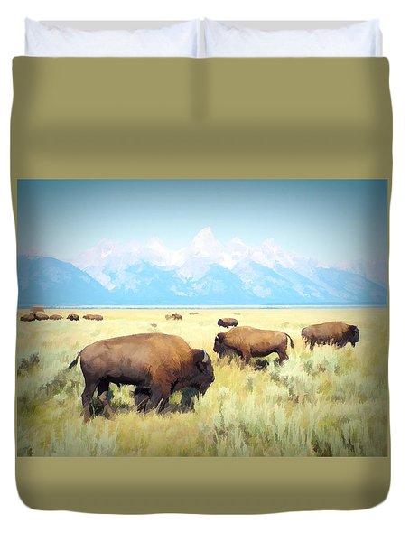 Buffalo Roam, Smokey Grand Tetons, Wyoming Duvet Cover