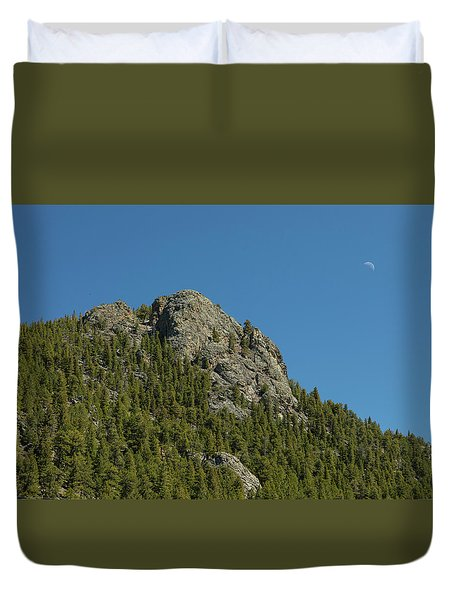 Duvet Cover featuring the photograph Buffalo Rock With Waxing Crescent Moon by James BO Insogna