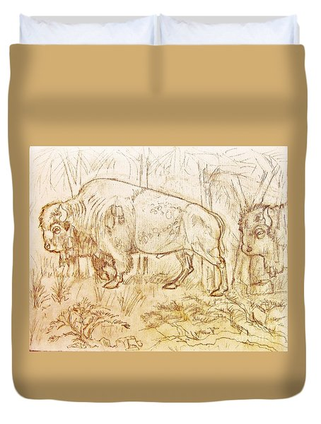 Buffalo Trail  Duvet Cover by Larry Campbell
