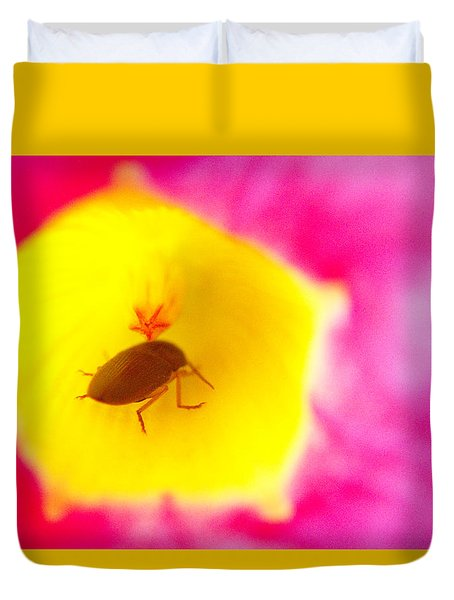 Duvet Cover featuring the photograph Bug In Pink And Yellow Flower  by Ben and Raisa Gertsberg