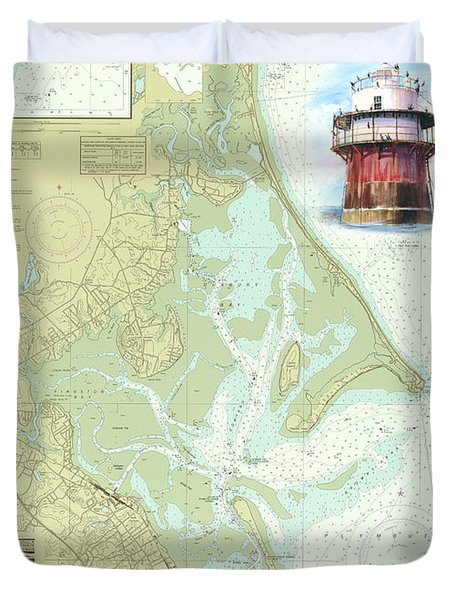 Bug Light On A Noaa Chart Duvet Cover