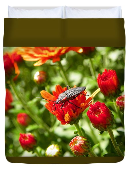 Bug On Flower Duvet Cover