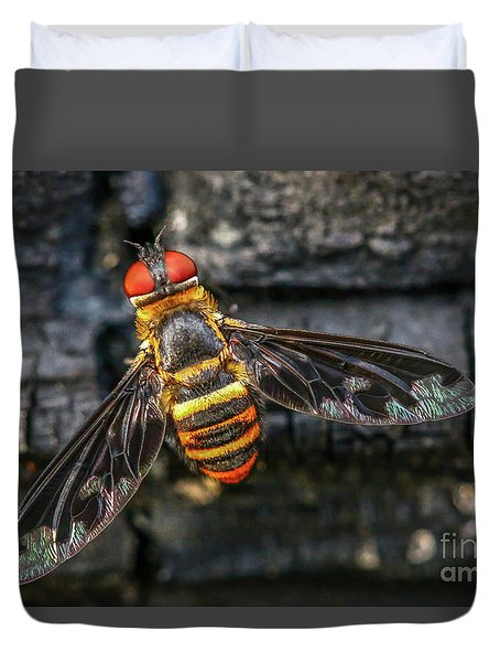 Bug With Red Eyes Duvet Cover by Tom Claud