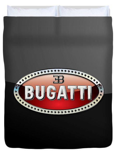 Bugatti - 3 D Badge On Black Duvet Cover by Serge Averbukh