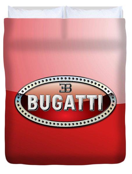 Bugatti - 3 D Badge On Red Duvet Cover