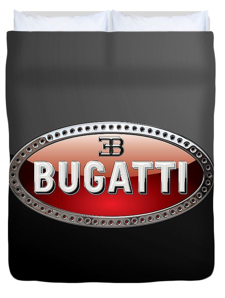 Bugatti - 3d Badge On Black Duvet Cover by Serge Averbukh