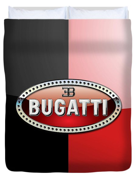 Bugatti 3 D Badge On Red And Black  Duvet Cover by Serge Averbukh