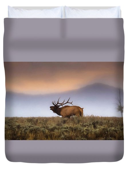 Duvet Cover featuring the photograph Bugle Boy  by Kelly Marquardt