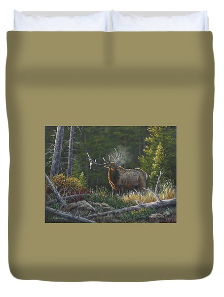 Duvet Cover featuring the painting Bugling Bull by Kim Lockman
