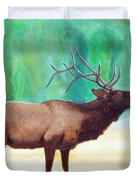 Duvet Cover featuring the painting Bugling Elk by Sherril Porter